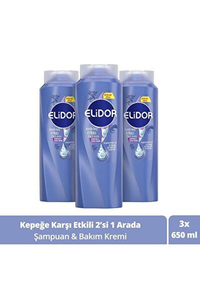 Elidor Kepeğe Karşı Etkili 2'si 1 Arada Şampuan Ve Saç Bakım Kremi 650 ml X3