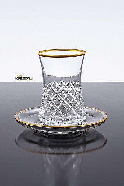 Paşabahçe Desenli Kesme 12 Parça 6 Kişilik Çay Bardağı Seti