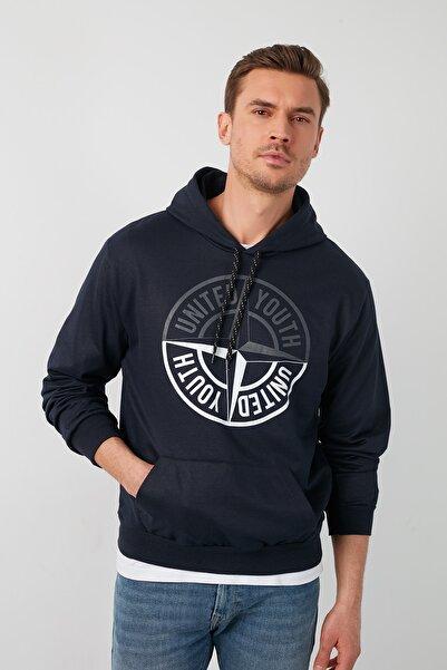 Buratti Erkek Lacivert Baskılı Kapüşonlu Kanguru Cepli Sweatshirt 541unıyou