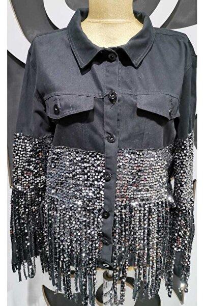 Zoom Kadın Pul Payetli Kot Ceket