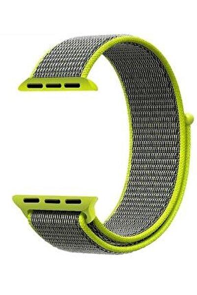 Neon Yeşil Gri Apple Watch Dokuma Kordon Kayış - 38mm 40mm