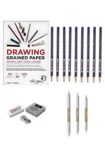 GLANCE Faber 1221 Eskiz Defterli Karakalem Çizim Seti Pastel Dağıtma, Kalemtıraş, Silgi Eskiz Seti