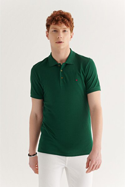 Avva Erkek Yeşil Polo Yaka Düz T-shirt E001004