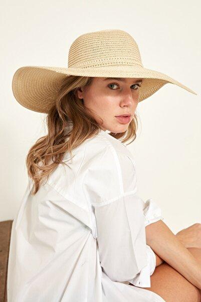 C&City Kadın Hasır Plaj Şapkası Y1730-14 Açık Bej
