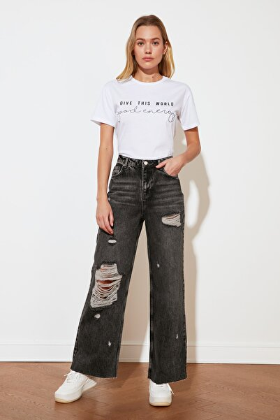 TRENDYOLMİLLA Antrasit Yırtık Detaylı Yüksek Bel Wide Leg Jeans TWOSS21JE0017