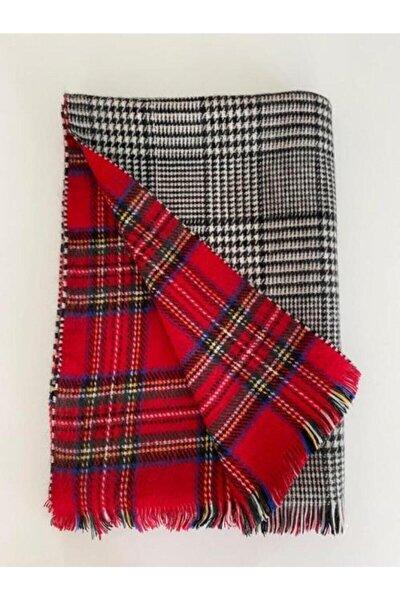 Mathilda Aksesuar Kadın Kırmızı İskoç Desen Çift Taraflı Yumuşak Dokulu Atkı