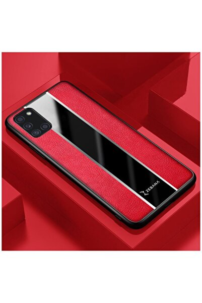 Dara Aksesuar Samsung Galaxy A31 Kılıf Zebana Premium Deri Kılıf Kırmızı