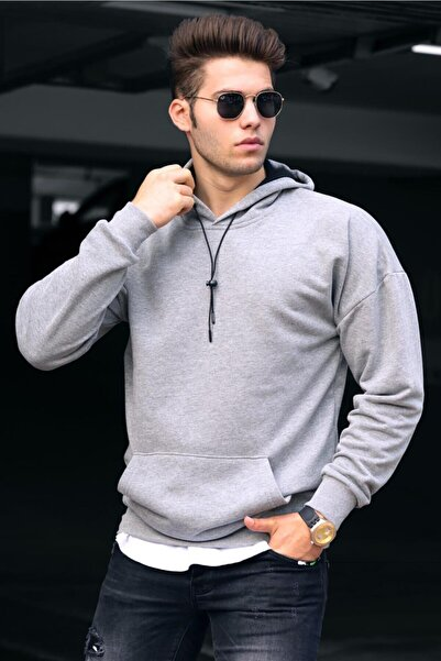 Madmext Erkek Gri Basic Kapüşonlu Sweatshirt 4764