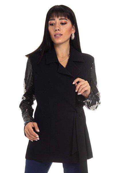 AYHAN 90437 Kolu Taş Ve Payet Işli Bağlamalı Ceket