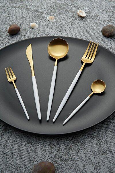 ACAR Beyaz Bellia Gold Paslanmaz Çelik 30 Parça Çatal Kaşık Bıçak Takımı
