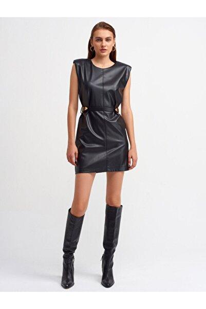 Dilvin Kadın Siyah Kemer Detaylı Deri Elbise
