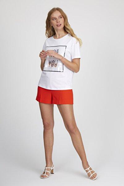 Setre Kadın Ekru Yaka Kısa Kol Baskılı Pullu Pamuk T-shirt