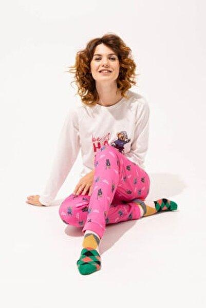 Teddy Bear Happy Kadın Pijama Takımı - Ekru