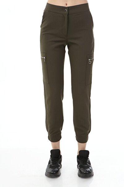 Rodi Jeans Kadın Haki Yan Fermuarlı Cep Kumaş Jogger Pantolon Ds21kb016570