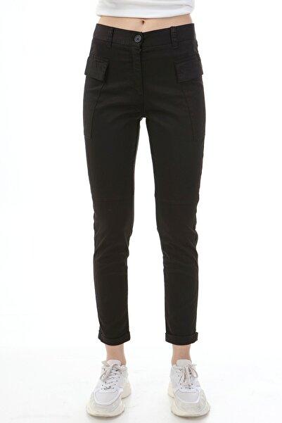 Rodi Jeans Kadın Siyah Üst Cep Kumaş Jogger Pantolon  Ds21kb012162