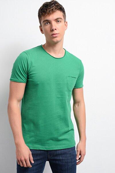 Rodi Jeans Erkek Yeşil Fırçalı Süprem Cepli Bisiklet Yaka T-shirt  Rd19ye279978