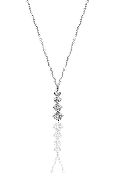 Söğütlü Silver Gümüş Rodyumlu  Zirkon Taşlı Pırlanta Modeli Pırıltı Kolye