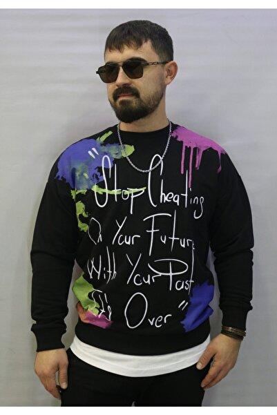 BREEZY Erkek Siyah Baskılı Oversize Sweatshirt