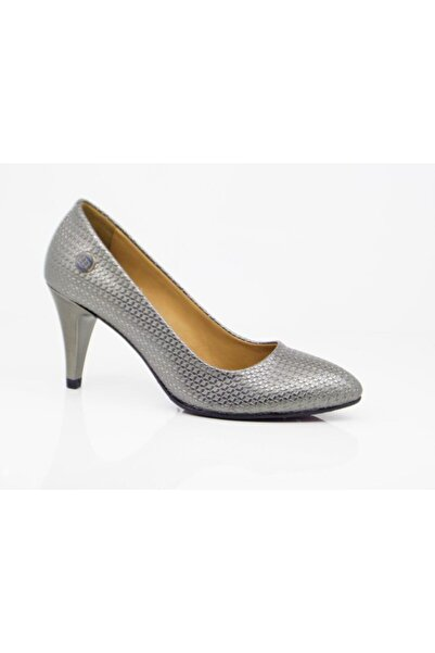 Mammamia Kadın Gümüş Günlük Topuklu Ayakkabı 3000