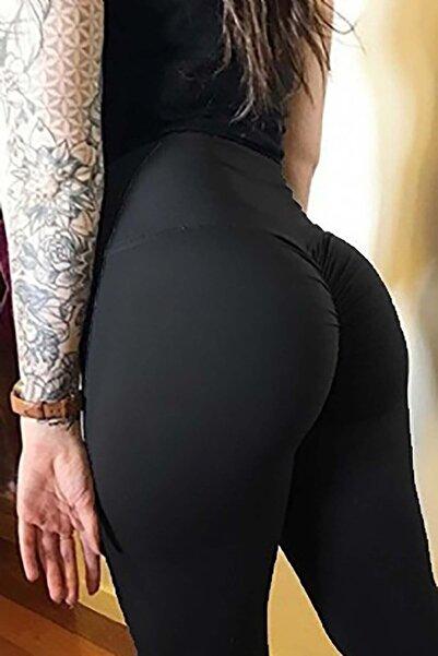 Merry See Kadın Siyah Kalça Tasarımlı Tayt