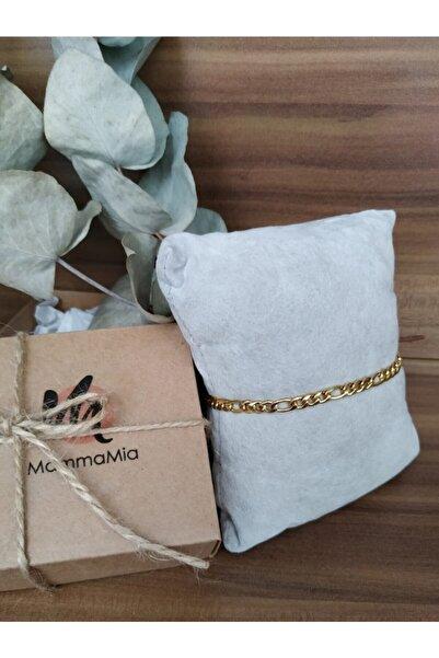 Mammamia Figaro Zincir Çelik Gold Bileklik