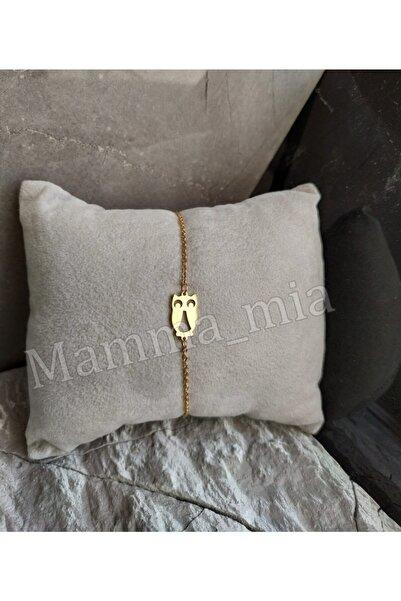 Mammamia Kadın Olivia Baykuş Çelik Gold Kolye