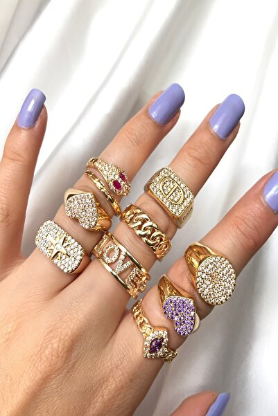 Jewelry With Aysu Kadın Sarı Love Ayarlanabilir Yüzük