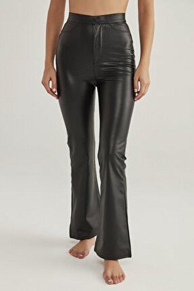 Kadın Siyah Siyah Deri Görünümlü Flare Pantolon