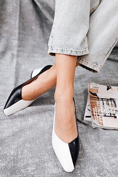 Limoya Kadın Siyah Beyaz Topuklu Ayakkabı