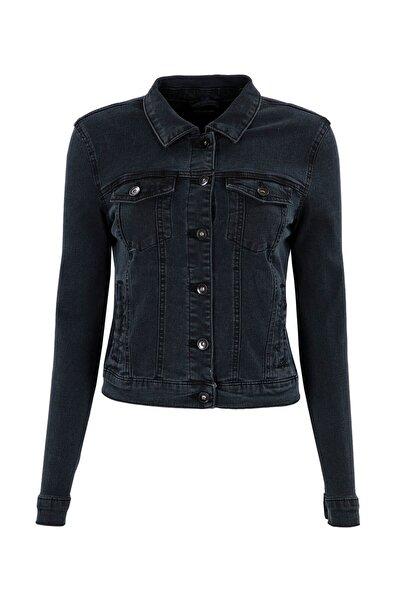 Vero Moda Kadın Koyu Gri Kot Ceket