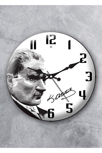 EMORES 36 Cm Gerçek Bombe Cam Akar Saniye Sessiz Mekanizma Dekoratif Atatürk Duvar Saati