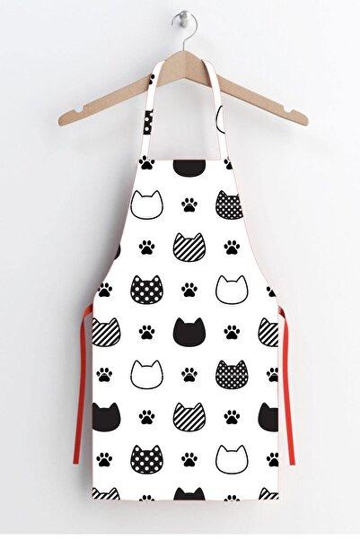 AYSHOME Beyaz Kedi Desen Leke Tutmaz Mutfak Önlüğü