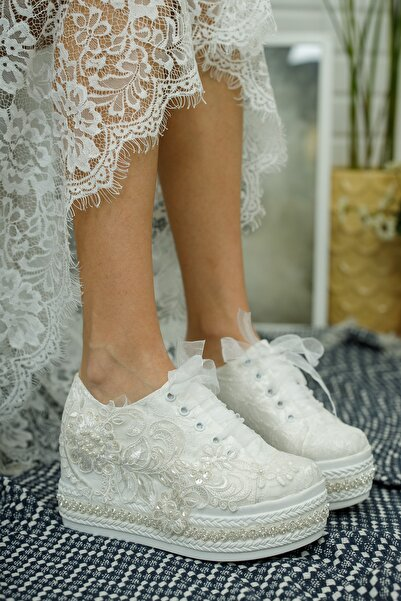 YADE MODA Kadın Sedef Bağcıklı Güpürlü Gelin Ayakkabısı