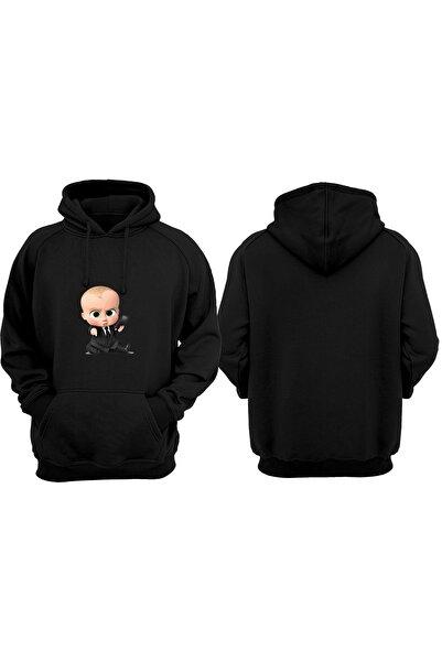 VectorWear Unisex Siyah Patron Bebek Baskılı Sweatshirt