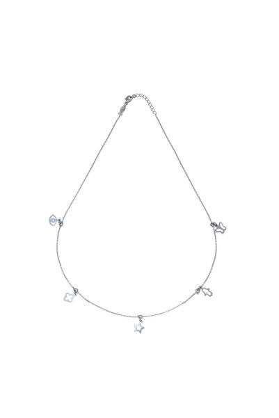 KURSHUNI Kadın Beyaz 925 Ayar Gümüş Tılsım Kolye PR002-2