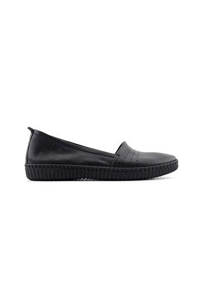 Kayra Hakiki Deri Kadın Ayakkabı-Siyah