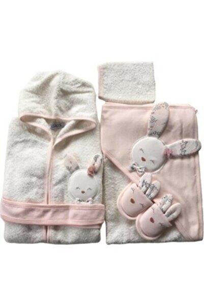 Gaye Kız Bebek Somon Sevimli Tavşan Havlu Bornoz Takımı