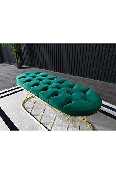 Ressa Home Capris Gold Kaplama Metal Puf -bench-90 Cm-haki Yeşil
