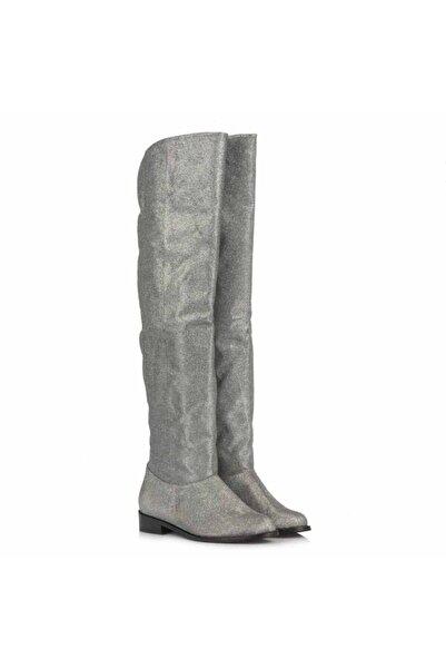 37Numara Gümüş Renk Kadın Çizme Dizüstü 41-42-43-44 Numara Kadın Çizme