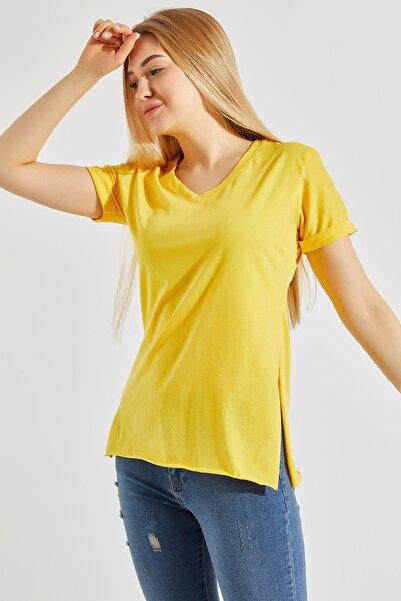 Zafoni Kadın Sarı Yırtmaçlı T-shirt