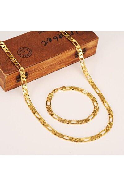 X-Lady Accessories Çelik Figaro Erkek Veya Kadın Bileklik Ve Kolye Zincir Seti Altın Kaplama