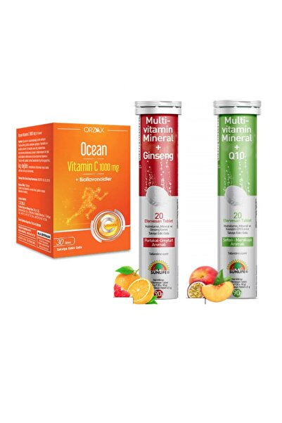 Sunlife Multivitamin & Mineral+ginseng 20 Tablet+ Koenzim Q10 20 Tablet+ocean C Vitamini 1000mg 30 Tablet