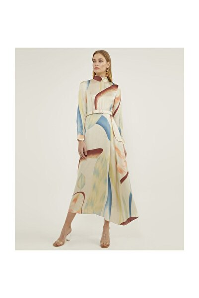Aker Kadın Ekru Kemerli Desenli Elbise V42850165