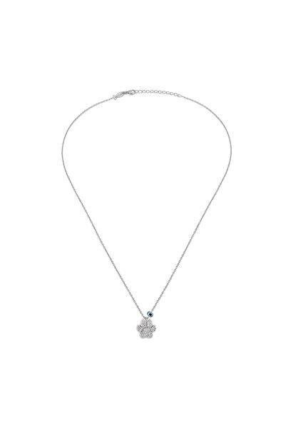 KURSHUNI Kadın Beyaz 925 Ayar Gümüş Pati Kolye KR694-2