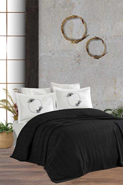 Elart Antrasit Örgü Battaniye Seti Nıcole