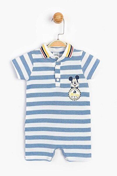 Mickey Mouse Disney Mavi Beyaz Erkek Bebek Yakalı Şort Tulum Ful Bebe-150445-mavi