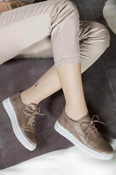 Deripabuc Hakiki Deri Dark Stone Kadın Deri Sneaker Vns-m01