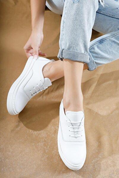 Deripabuc Hakiki Deri Beyaz Kadın Deri Sneaker Vns-m01