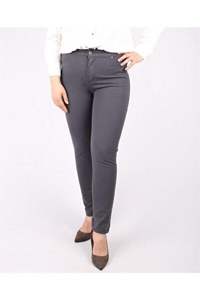 RMG Kadın Antrasit Cep Detaylı Büyük Beden Pamuk Pantolon