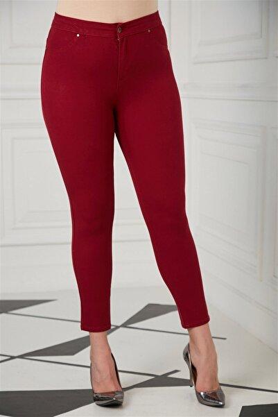 RMG Kadın Bordo Cep Detaylı Büyük Beden Pamuk Pantolon